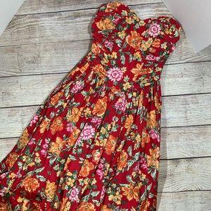 Vintage 80's Laura Ashley Red Floral BowBack Dress